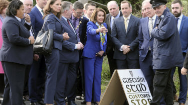 US House Speaker Nancy Pelosi, centre,  and other members of a US delegation made the symbolic border crossing, that is the contentious Brexit border, between Ireland and Northern Ireland on Thursday. She is on a four-day trip to the region.