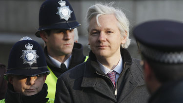 Julian Assange arrives at the Supreme Court in London in February 2012.