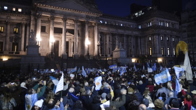 Demonstrators rally against corruption outside Congress in Buenos Aires,.