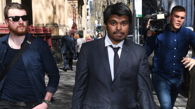 Chinmay Naik leaves the Supreme Court of Victoria after an earlier appearance.