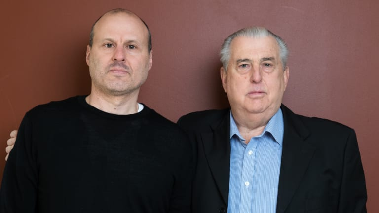 Ronald and Darren Bobroff at Ronald's home in St Ives, Sydney. An Interpol Red Notice has been issued for their arrest after they fled South Africa, accused of fraud.