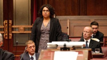 Deborah Mailman as a recently elected senator in Total Control.