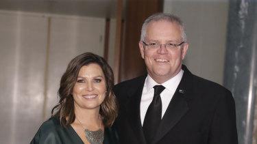 Jenny Morrison and Prime Minister Scott Morrison arrive for the Midwinter Ball.