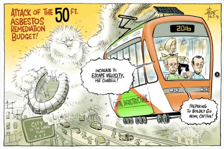 David Pope cartoons on light rail from 2014. Politicians have been making hay out of the  issue for a long time.