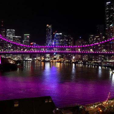 Brisbane's Story Bridge was lit up pink in February in memory of Hannah Clarke and her children.