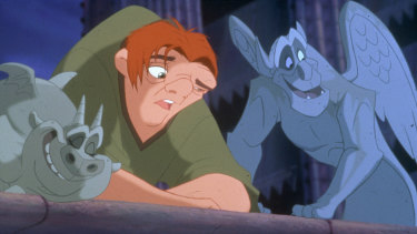 Quasimodo with his gargoyle friends Hugo and Victor from the Disney version of the story.