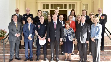 Family and dignitaries gathered at Government House for Constable Zach Rolfe's bravery-award presentation, including the Chinese ambassador to Australia Cheng Jingye.