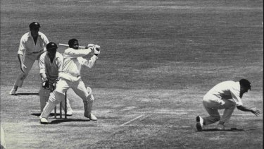Basil Butcher pulls for four on his way to a 1969 century at the SCG. It was his fourth century of the tour.