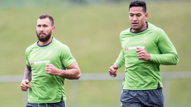 Quade Cooper and Israel Folau train together during their time with the Wallabies.