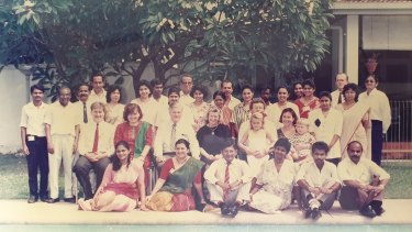 Tonia Shand (centre, in black) with Australian High Commission staff in Sri Lanka, 1991.