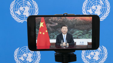 Chinese President Xi Jinping remotely addresses the 75th session of the United Nations General Assembly.