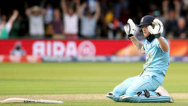 England's Ben Stokes reacts after the ball hit his bat during the ICC World Cup Final.
