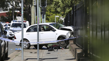 The scene of the fatal crash at Hurstville Public School on Friday.