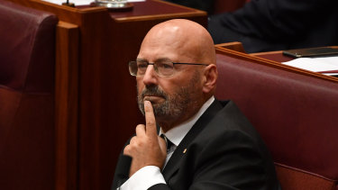 Liberal Senator Arthur Sinodinos before making his valedictory speech in the Senate.