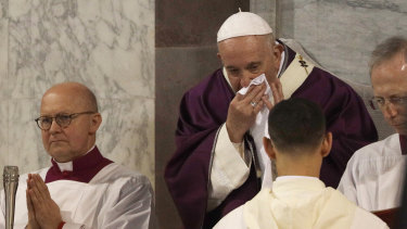 Pope Francis was seen wiping his nose during the Ash Wednesday Mass last month.