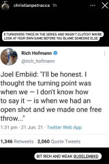 Christian Petracca's Instagram story regarding Joel Embiid's comments about Ben Simmons after Philadelphia lost game seven of their playoff series against Atlanta.