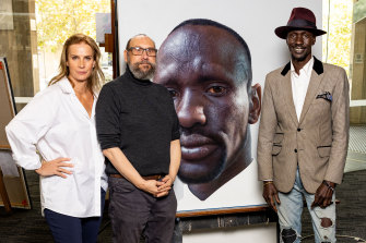 Actor and presenter Rachel Griffiths,painter Nick Stathopoulos and subject Deng Adut in Finding The Archibald.