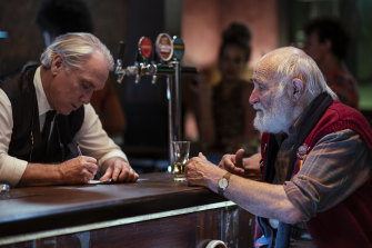 Stan (Damien Garvey) and Wilbur (John Flaus) in the newly renovated Prince of Prussia pub in the third season of <i>Jack Irish</i>.