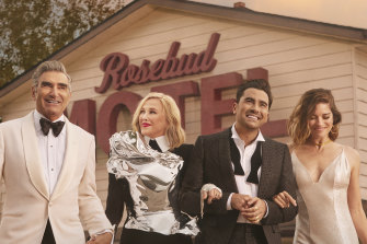 The cast of Schitt's Creek: Eugene Levy, Catherine O'Hara, Dan Levy and Annie Murphy.