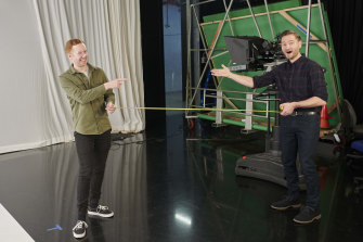 Luke McGregor and Charlie Pickering will be maintaining a safe social distance on the set of The Weekly.