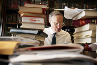 Justice Dyson Heydon in his Sydney chambers after being appointed to the High Court in 2002.
