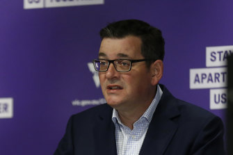 Premier Daniel Andrews speaks to the media at the daily briefing.