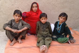 Some of the children of deceased Afghan villager, Ali Jan, and his wife, Bibi Dhorko.