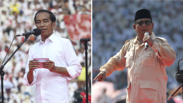 Indonesian President Joko Widodo, left, and his challenger in the upcoming election Prabowo Subianto during their campaign rallies in Jakarta, last week.
