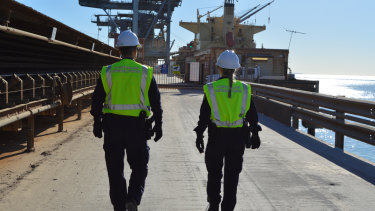 Australian Border Force officers patrolling the Kwinana wharf.