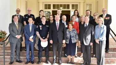 Family and dignitaries gathered at Government House for Constable Zach Rolfe's bravery-award presentation, including the Chinese ambassador to AustraliaCheng Jingye.