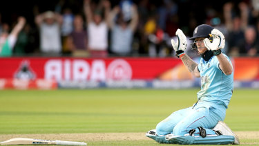 England's Ben Stokes reacts after the ball hits his bat during the ICC World Cup Final at Lord's, London.