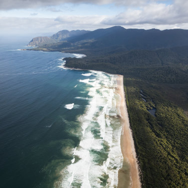 """Part of Tasmania's 85-kilometre  South Coast Track, where rudimentary campsites with drop toilets could be replaced with """"environmentally sensitive"""" huts featuring hot showers."""