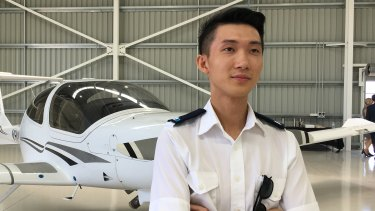 Kenng Zhang has moved from Sydney to Toowoomba to fulfill his childhood dream of becoming a pilot.