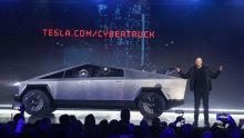 Tesla CEO Elon Musk introduces the Cybertruck at Tesla's design studio Thursday.