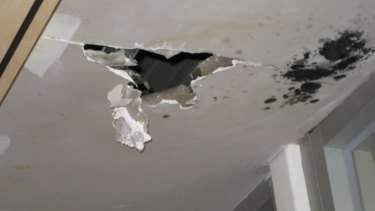 Ceiling damage and mould at Park Towers in April 2019.