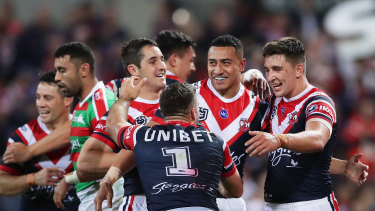 Sio Suia Taukeiaho celebrates during the qualifying final against Souths.