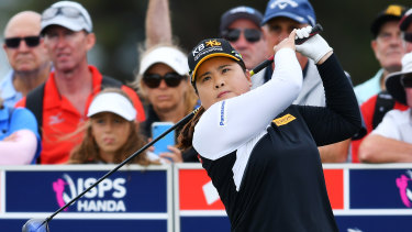 Inbee Park tees off the fifth during day three of the Women's Australian Open at Royal Adelaide Golf Club.