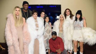 From left, Khloe Kardashian, Lamar Odom, Kris Jenner, Kendall Jenner, Kourtney Kardashian, Kanye West, Kim Kardashian, Caitlyn Jenner and Kylie Jenner at Kanye West's Yeezy Season 3 launch in 2016.