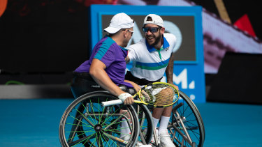 Back for more: Wheelchair tennis quad doubles partners Dylan Alcott and Heath Davidson in action during the Australian Open in February.