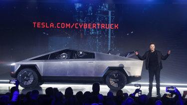 Tesla CEO Elon Musk introduces the Cybertruck at Tesla's design studio last week.