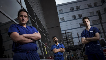 Austin Hospital cardiologists Anoop Koshy, Liam Toner and Matias Yudi (far left), who says 'every minute counts with a heart attack so a 12 hour delay is quite a scary prospect.'