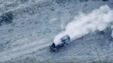 Azerbaijan's forces destroy Armenian army's multiple rocket launcher during fighting in the self-proclaimed Republic of Nagorno-Karabakh, Azerbaijan.