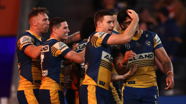 Dylan Brown celebrates with the Eels against the Roosters on May 7.
