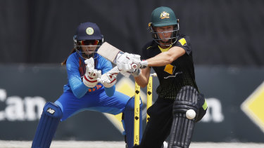 Meg Lanning takes on the Indian spinners during the tri-series match in Melbourne.