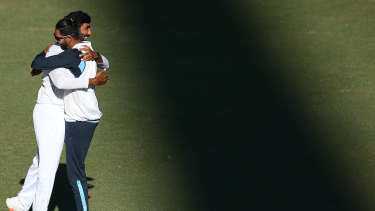 India didn't feel a lot of love at the SCG but Mohammed Siraj and Jasprit Bumrah shared a moment after the draw.