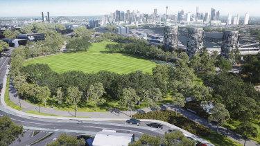An artist's impression of proposed parkland above the Rozelle Interchange.