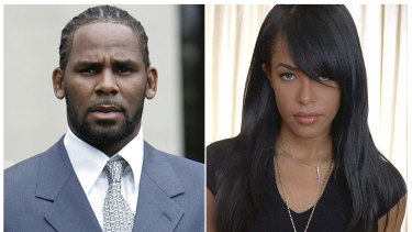 R. Kelly and the late R&B singer and actress Aaliyah. At age 27, R. Kelly married the then 15-year-old in secret.  The marriage was annulled because of her age.