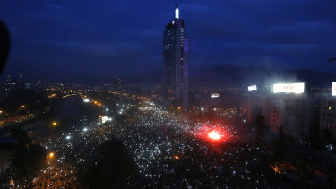 More than a million people gather at Plaza Italia during the eighth day of protests against President Sebastian Piñera's government in Santiago, Chile.