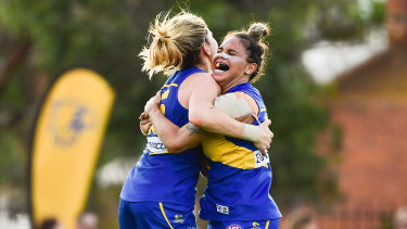 Imahra Cameron and Grace Kelly of the West Coast Eagles AFLW team that the Town of Victoria Park wants to still play football at Lathlain Park.