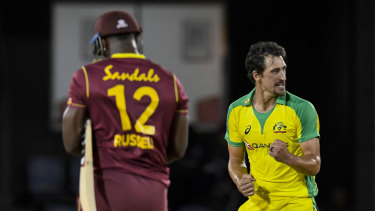 Mitchell Starc celebrates a wicket in the West Indies series broadcast on Foxtel.